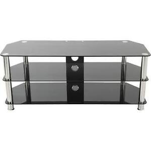 "49"" Black Glass and Chrome TV Stand"