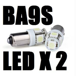2 X BA9S XENON WHITE LED Parking Number Plate Miniature Bayonet Light Bulb 12V