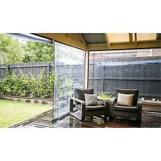 2 black and clear bistro outdoor blinds
