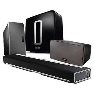 Sonos  Play bar, Sonos Sub & 2x sonos play 3 complete package.
