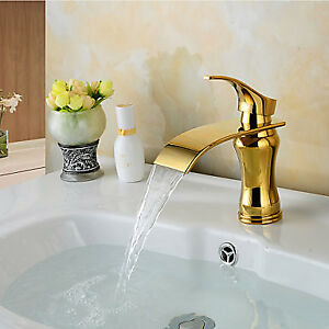 Single lever waterfall faucet gold