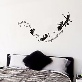 Wall Art Stickers (Second Star To The Right ) Peter Pan Quote