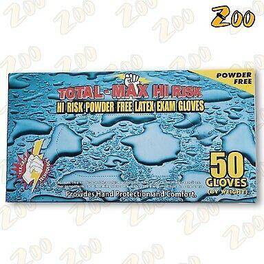 15 Mil Total-max Hi Risk Powder-free Blue Latex Exam Gloves Size Xl