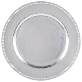 Silver beaded Acrylic Charger Plates for sale - brand new