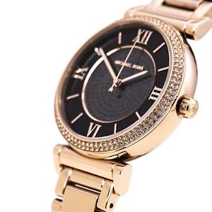 Michael Kors MK3356 Womens Black Dial Rose Gold Watch Southbank Melbourne City Preview