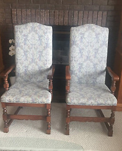 PAIR OF VINTAGE DAMASK SOLID WOOD ACCENT CHAIRS''