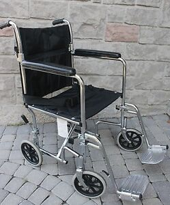 Folding Transport Wheelchair AMG 17 inch a fair size foldable wh