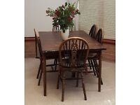 FREE - 6 seater dining room table with 9 chairs. Pickup required within 48 hours