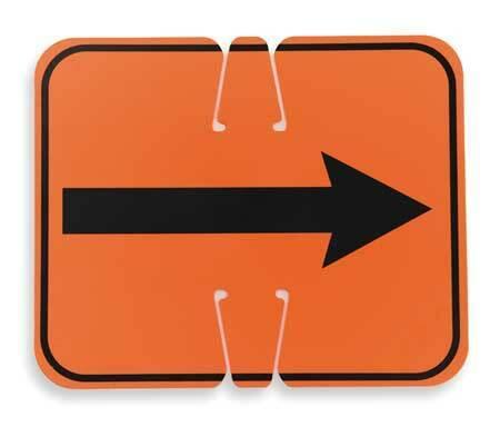 Zoro Select 03-550-2Wa Traffic Cone Sign,Orange/Black,Rev Arrow