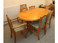 Pine Oval Extendable Table and 7 chairs