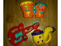 Toddler/baby musical instruments (guitar, drums,sax)