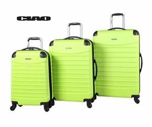 """NEW 3PC CIAO SPINNER LUGGAGE SET LIME GREEN HARD-SIDE 28"""", 24"""", 20"""" SUITCASES SPINNER LUGGAGE TRAVEL GEAR BAG  84833692"""