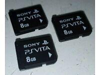 3x 8GB PS-VITA MEMORY CARDS