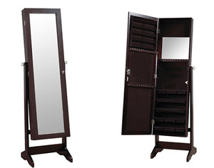 Freestanding Full Length Mirror and Jewelry Cabinet