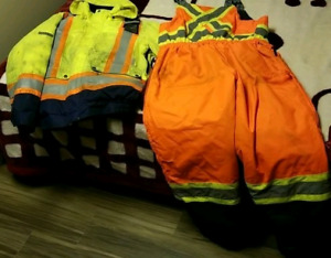 High visibility winter workwear, jacket snd coveralls.