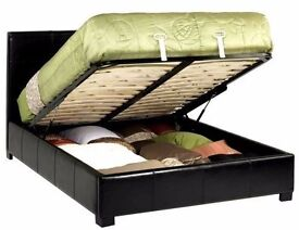 ◄Get it Today► Double Leather Gas Lift Storage Ottoman Bed in Black/Brown With Variety Of Mattresses