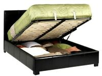 BLACK AND BROWN COLOUR- NEW DOUBLE LEATHER OTTOMAN STORAGE BED WITH DEEP QUILT MATTRESS