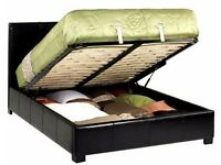 ** CHOC BROWN OR JET BLACK COLOURS **BRAND NEW GAS LIFT UP STORAGE Double LEATHER BED & MATTRESS