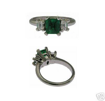 Estate Platinum 3-stone Emerald Diamond Ladies Ring
