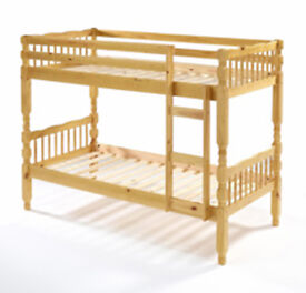 BRAZILIAN PINE - BRAND NEW SINGLE DOUBLE DECKER CHUNKY WOOD BUNK BED FRAME WITH MATTRESSES OF CHOICE