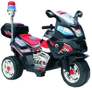 Child Ride On Three Wheel Motorcycle with Siren Blinking Lights and Sound, Music, MP3 Output, Forward, Reverse, Lights