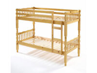 BRAND NEW BRAZILLIAN PINE SINGLE CHUNKY WOOD BUNK BED FRAME WITH MATTRESSES OF CHOICE BUNKBED