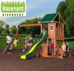 NEW* BD OAKMONT PLAYGROUND SET - 129463640 - BACKYARD DISCOVERY SWING SWINGS PLAYSET PLAYSETS OUTDOOR PLAYGROUNDS TRE...