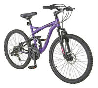 "NEW Schwinn Teslin 2.4 Girls' 24"" Full Suspension Mountain Bike"