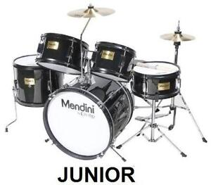 "NEW MENDINI 5PC JUNIOR DRUM SET 16"" - METALLIC BLACK KID'S MUSICAL INSTRUMENTS 104723171"