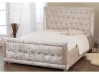 Silver Crushed Velvet double 4ft6 bed