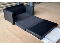 2 Seater Faux Leather Sofa Bed - Black.