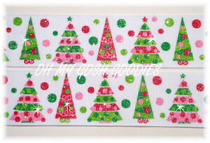 1.5 RETRO TWINKLE GLITTER TREES CHRISTMAS RED GREEN GROSGRAIN RIBBON 4 HAIRBOW