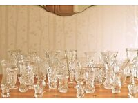 Job Lot of Vintage Cut Glass Vases and Bowls Perfect for Wedding