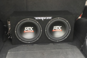 "Mtx terminator 12"" subs with box and amp"