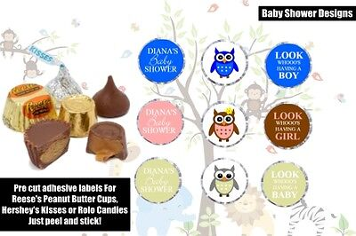 108 Personalized Owl Baby Shower Hershey Kisses, Labels Stickers Favors boy girl - Owl Boy Baby Shower