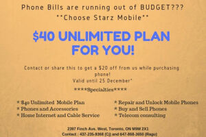 $40 Unlimited Plan (Calls, Text and Data) @Starz Mobile
