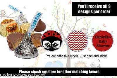 Ladybug Baby Shower Hershey Kisses Stickers Favors Candy Wrapper Labels Party (Ladybug Candy)