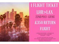 1 x Flight ticket London Heathrow > Los Angeles