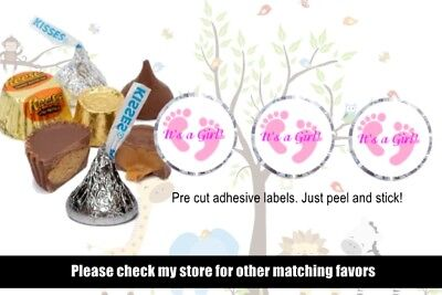 108 IT'S A GIRL HERSHEY KISSES LABEL FOOTPRINT WRAPPERS FAVORS BABY SHOWER PARTY