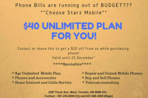 $40 Unlimted Plan (Calling Texting Data)- Starz Mobile