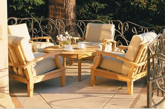 6 PC TEAK WOOD DEEP SEAT GARDEN OUTDOOR PATIO SOFA SET - SOMER DINING DECK SET