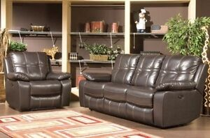 BEAUTIFUL BROWN LEATHER 2PC LIVING ROOM SOFA SET BRAND NEW