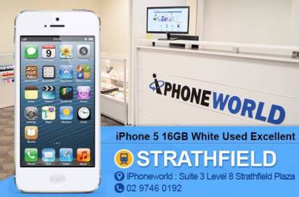 iPhone 5 16GB White Excellent condition unlocked Used Strathfield Strathfield Area Preview
