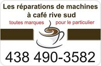 réparations de machines à café, saeco, delonghi, jura, etc...