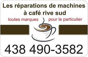 Les réparations de machines à café, saeco, delonghi, jura, etc..