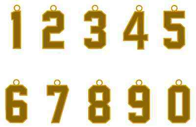Jersey Number Style Necklace Charm Pendant Gold Football Baseball Soccer