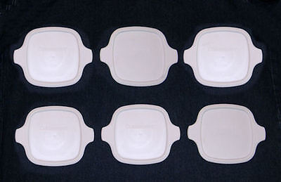 6 NEW Corning Ware Petite Lids Fit All P-41 P-43 White Plastic Covers FREE SHIP