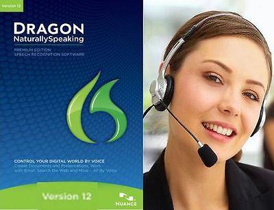 Nuance Dragon Naturallyspeaking Naturally Speaking Premium 12 With Usb Headset