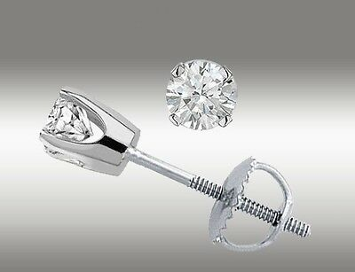 14k White Gold Stud Earrings Round Cut .20 Ct With Screw ...