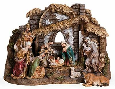 by Roman - 10-Piece Nativity Set with Stable, Includes Holy Family, Three Kings